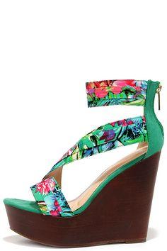 Aloha Seafoam Green Print Ankle Strap Wedges at Lulus.com!