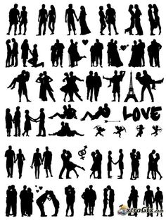 Wedding couples silhouettes (vector)