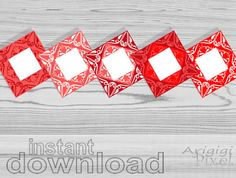 cootie catcher card, blank, red Christmas colors, set of 5, for DIY invitation, Merry Christmas card, wedding program, instant download