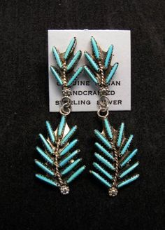 Image 0 of Zuni Turquoise Needlepoint Sterling Silver Earrings, Jeannie Lastiyano