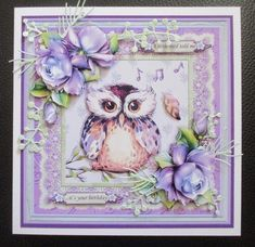 ANOTHER YEAR OLDER WISE OWL LILAC 7.5 Decoupage & Insert Mini Kit - CUP893551_68 | Craftsuprint