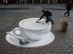 look at this! all on a flat cobblestone sidewalk. 3D