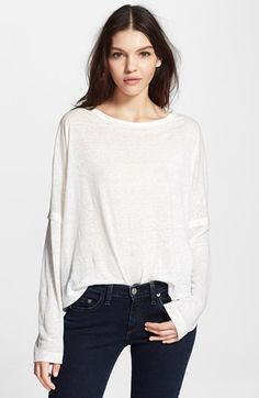 Free shipping and returns on rag & bone/JEAN 'Deal' Long Sleeve Tee at Nordstrom.com. Breezy Portuguese linen is crafted into a boxy, long-sleeve tee with dramatically dropped shoulders that release into oversized cuffs for a playfully slouchy look.