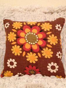 60's Original vintage Heals era flowery Bark cloth fabric cushion cover   eBay