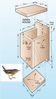 Wrens are tiny, but fierce and noisy! Love these little guys, but only one wren house per yard ~ they are very territorial Bird House Plans Free, Bird House Kits, Homemade Bird Houses, Bird Houses Diy, Wood Projects, Woodworking Projects, Woodworking Books, Woodworking Machinery, Woodworking Workbench
