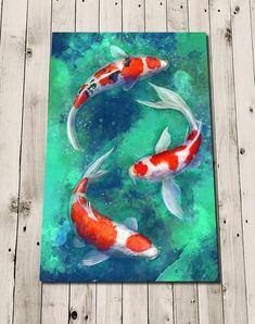 Koi Fish Print-Koi poster painting-Koi Print-Koi painting-carp koi-Japanese Koi Print-artwork Zen-Zen art print-Japan art - Koi Fish Print-Koi affiche peinture-Koi Print-Koi peinture-carpe koi-japonais Koi Print-oeuvre Zen-Z - Koi Painting, Acrylic Painting Canvas, Acrylic Art, Japanese Painting, Painting Flowers, Koi Fish Drawing, Fish Drawings, Art Drawings, Pencil Drawings