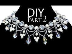 DIY: beading wedding necklace with pearls (part 2 of 2) / Свадебное колье из бисера и жемчуга - YouTube