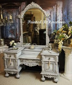 Ornate Victorian vanity makeover with Shabby Paints - by Painted Restorations