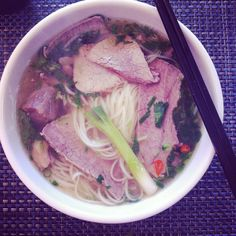 Homemade pho lunch. Slurped my way to the bottom of the bowl.