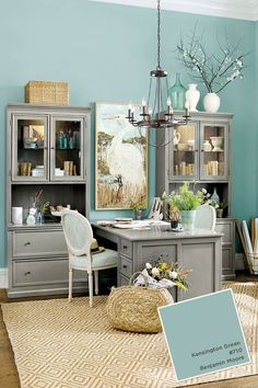 Isn't this Benjamin Moore's Kensington Blue so fresh and fun for a home office? It definitely energizes the space!