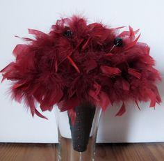 Scarlett Feather Bouquet Feathered Bridal Bridesmaid Red Burgundy Black winter wedding valentines day boudoir. $95.00, via Etsy.