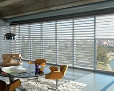 Adding a bright yellow accent makes a fearless decorative statement Pirouette® window shadings ♦ Hunter Douglas window treatments  #Loft
