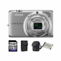 Nikon Coolpix S6500 Digital Camera - Silver + 2 Batteries, 32GB & More