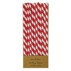 Meri Meri Strohhalme rot weiß gestreift aus Papier - Bonuspunkte sammeln, Kauf auf Rechnung, DHL Blitzlieferung!