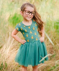 Another great find on #zulily! Taylor Joelle Designs Turquoise Madam Pear Tutu Dress - Infant, Toddler & Girls by Taylor Joelle Designs #zulilyfinds