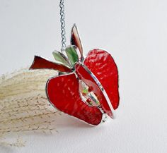 Red Apple. Stained Glass. by jacquiesummer on Etsy