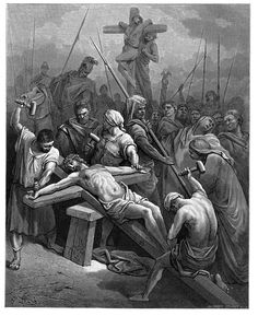 53. Nailing Christ to the Cross (Gustave Doré)
