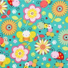 turquoise insect bug flower animal fabric Camelot Itty Bitty