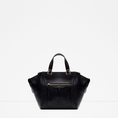 ZARA - NEW IN - LEATHER CITY BAG WITH ZIPS