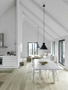 Pitched Roofing + Wooden Beams - The Design Chaser. home decor and interior decorating idea. House Design, Interior, Interior Inspiration, Interior Architecture, House Styles, Home Decor, House Interior, White Interior, Flooring Inspiration