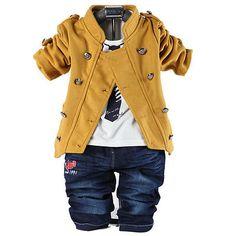 3PC Kids baby Double row metal button coat+T-Shirt+jeans sets suit boys clothing