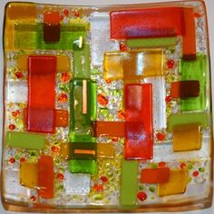 from 2dogsglass.com  scrap dish with frit
