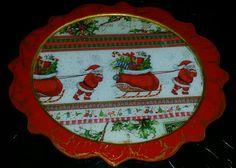 Individuales navideños en MDF o trupan. Técnica de servilleta, craquelado y resinado