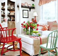 First Friday Home Tour: Lidy's French Garden House Bright colored living space with red and aqua