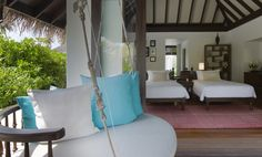 Family trip? There is room for everyone in  the Beach pool villas at Anantara Kihavah Villas, Maldives. Check out our twin bedroom design and indoor swing.