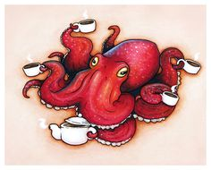 Tentacle Tea Time by LeMayhem. I wish I could find this for my kitchen.
