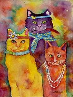 ☮ American Hippie Cat Art