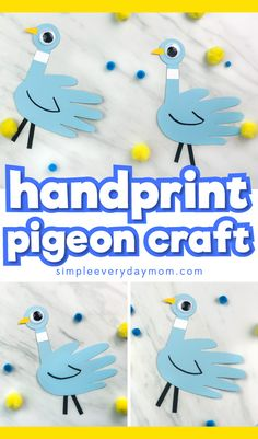 Mo Willems Craft For Kids | Learn how to make this cute and easy handprint pigeon craft from the popular pigeon books. It's a simple activity for preschool and elementary children.
