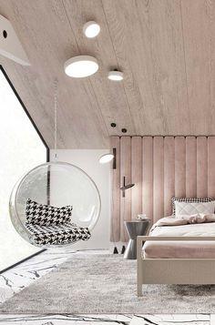 Forro de madeira acompanhando o formato do telhado #cuartos