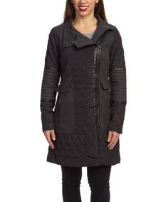 Another great find on #zulily! Yoki Black & Charcoal Quilted Moto Coat by Yoki #zulilyfinds