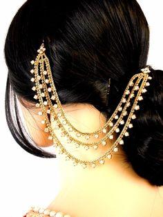 abad07ded Details about Three Row Jura Chain Pakistani Matha Patti Pearl Stone Indian  Maang Tikka Bridal