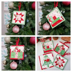 Quick Patchwork Quilted Christmas Ornaments (A Quilting Life) Quilted Christmas Ornaments, Christmas Sewing, Christmas Fabric, Christmas Projects, Handmade Christmas, Christmas Crafts, Christmas Quilting, Christmas Christmas, Purple Christmas