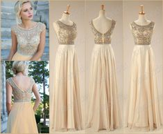 2015 Best Selling In Stock Prom Dresses Rhinestone Beaded Scoop Neck Capped Sleeve A-Line Floor-length Champagne Chiffon Evening/Formal Gown Online with $137.3/Piece on Kissbridal's Store   DHgate.com