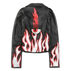 "Black leather ""Flirting"" jacket with suede and patent decorations on the back and laminated silver and red leather flames"