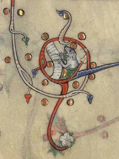 The Dog Scribe (Verdun, MS 107, 14th c.)