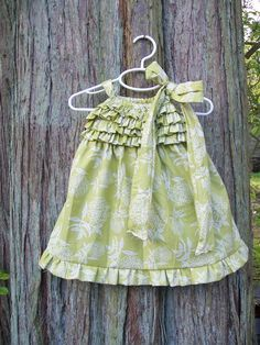 Ruffles on a pillowcase dress bodice.