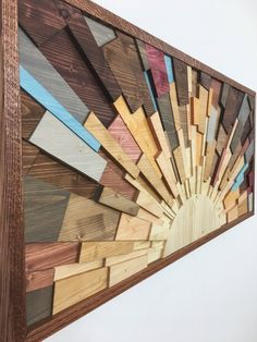 "Wood wall art – ""Caribbean Sunrise"" wooden wall art sculpture , modern art home decor handcrafted by Jeremy Gould, interior design - Wand Diy Wood Projects, Wood Crafts, Woodworking Projects, Art Projects, Woodworking Workshop, Woodworking Chisels, Youtube Woodworking, Woodworking Books, Wood Projects"