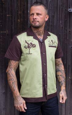 Homme Dusty Rose//formica bowling shirt rockabilly chemise rock n roll Shirt Rétro