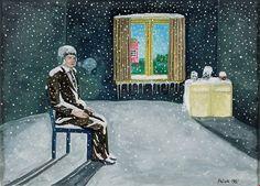 Kalervo Palsa (Finnish, Waiting (Odotus), 1981 Gouache on paper, 28 x 39 cm via yababay Gouache, Waiting, Gallery, Paper, Inspiration, Art, Goodies, Inspired, Biblical Inspiration