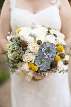 Succulent and Craspedia bridal bouquet | Photo by Melissa McClure Photography