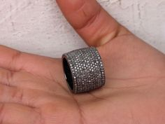 6.58ct Diamond Pave CIGAR Ring Sterling Silver Antique Style Fine US7 Jewelry PY #Handmade