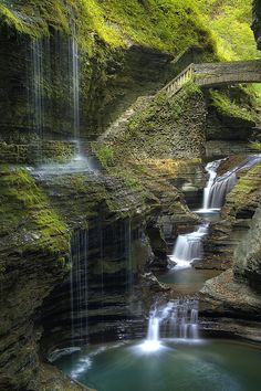 tell me this is real...  edit: nm, it IS real! Watkins Glen State Park, in Schuyler County, NY