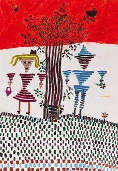 """PREMIO BMW AL TALENTO MÁS JOVEN. Paloma Ruiz Moreno  """"Amigos por la raya"""". Lapiz, cera y acuarela sobre papel. 100x70cm. Bmw, Artwork, Watercolor Painting, Pintura, Wax, Door Prizes, Artworks, Abstract, Friends"""