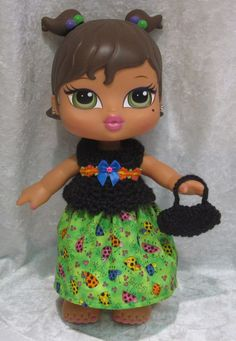"BIG BRATZ BABYZ 12"" Doll Clothes #29 Handmade Top, Skirt & Purse Ladybugs Set #HandmadebyESCHdesigns"