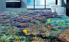 Sponge Fish Rock Tropical Ocean 00099 Floor Decals 3D Wallpaper Wall Mural Stickers Print Art Bathroom Decor Living Room Kitchen Waterproof Business Home Office Gift