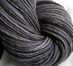 "SheepingBeauty on Etsy. ""Purple Haze"" hand-spun single-ply yarn from merino fiber hand-dyed by violaviola on Etsy."